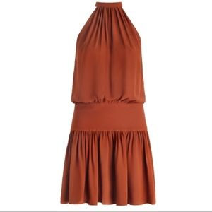 Zimmermann Rust Chroma Gathered Drop Waist Dress